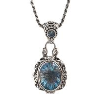 Sarda Sterling Silver & Swiss Blue Topaz Necklace