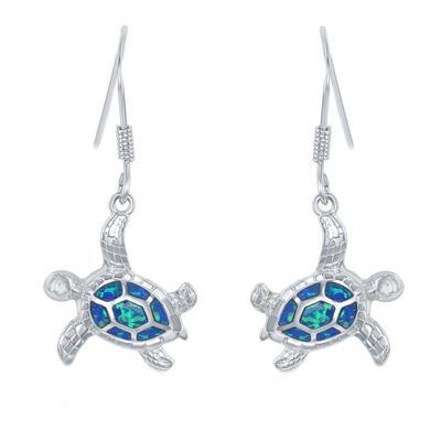 Sterling Silver & Blue Opal Sea Turtle Earrings