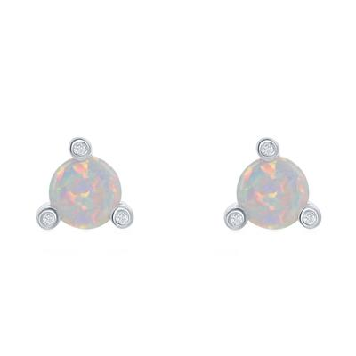 Sterling Silver & White Opal 3- Prong Studs