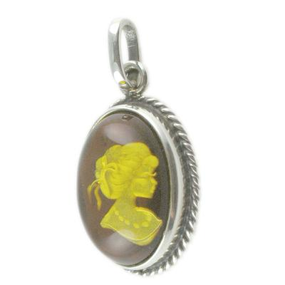 Carved Amber & Sterling Silver Cameo Pendant