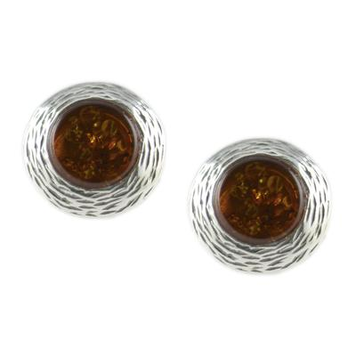 Cognac Amber & Textured Sterling Silver Studs