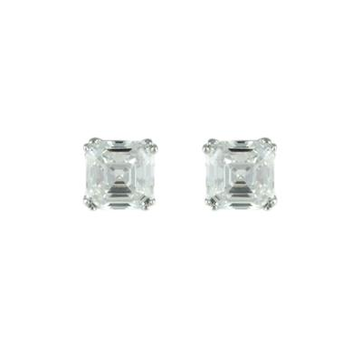 Sterling Silver Double Prong Set Cz Studs