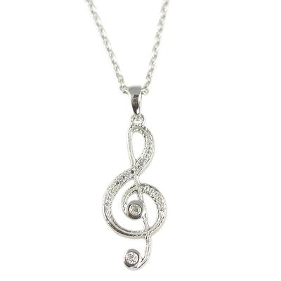 Sterling Silver & Cz Treble Clef Necklace