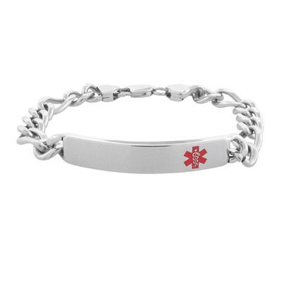 Inox Men's Stainless Steel Medical Id Figaro Chain Bracelet