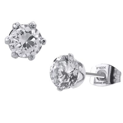Inox Large 6- Prong Stainless Steel Cz Studs
