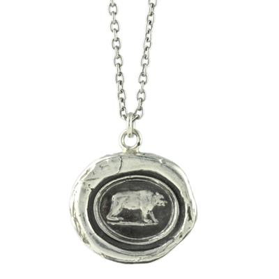Pyrrha Sterling Silver Mother Bear Talisman Necklace
