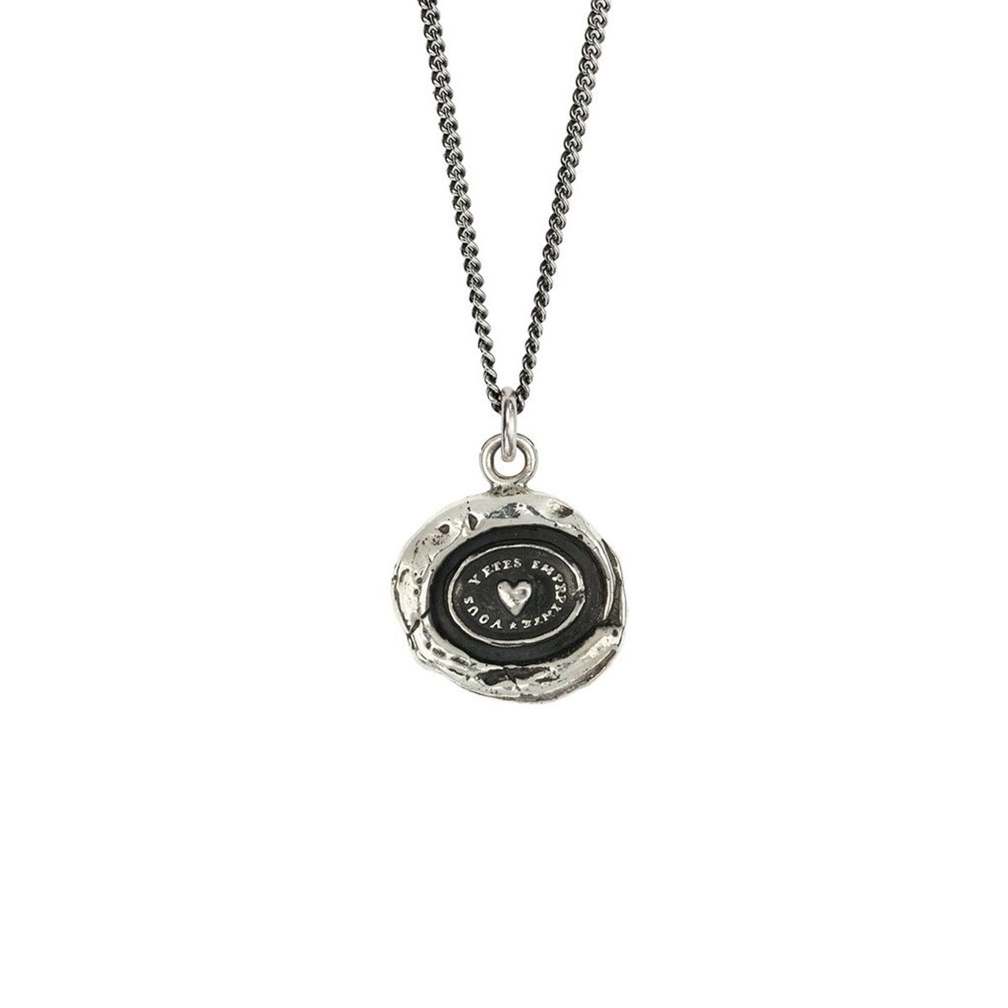 Pyrrha Sterling Silver Heart Print Talisman Necklace