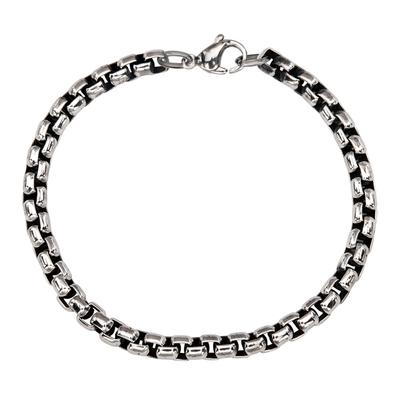 Inox Men's Oxidized Stainless Steel Link Bracelet