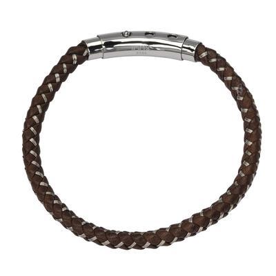 Inox Men's Woven Brown Leather Bracelet