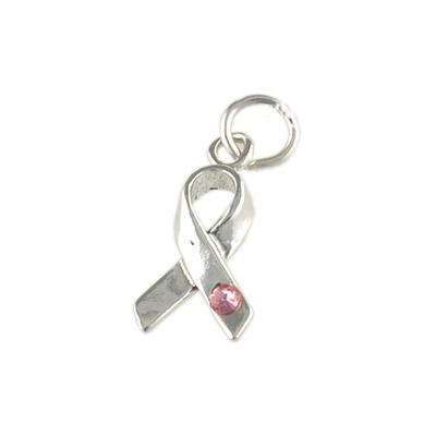 Sterling Silver & Pink Crystal Breast Cancer Ribbon Charm
