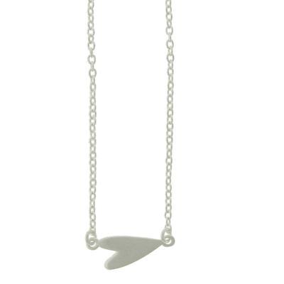 Tashi Brushed Sterling Silver Sideways Heart Necklace