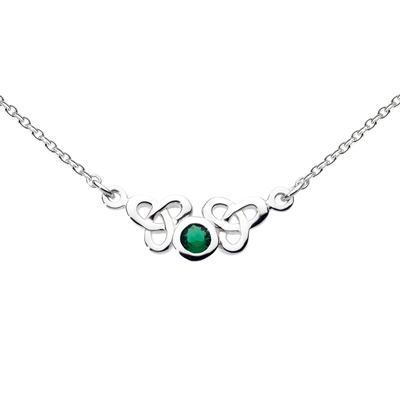Kit Heath Green Glass & Sterling Silver Celtic Trilogen Necklace
