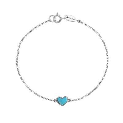 Boma Sterling Silver & Blue Turquoise Heart Bracelet
