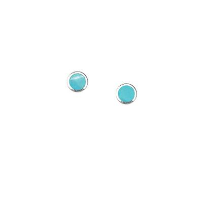 Boma Tiny Round Sterling Silver & Turquoise Studs