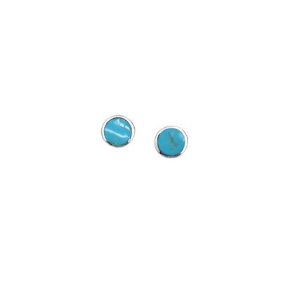 Boma Round Turquoise & Sterling Silver Studs