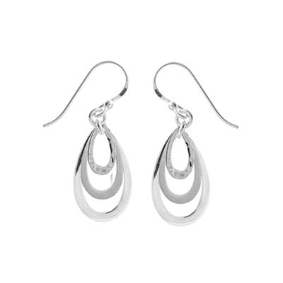 Boma Mixed Finish Sterling Silver Layered Teardrop Dangle Earrings