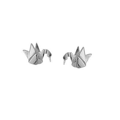 Boma Sterling Silver Origami Crane Studs