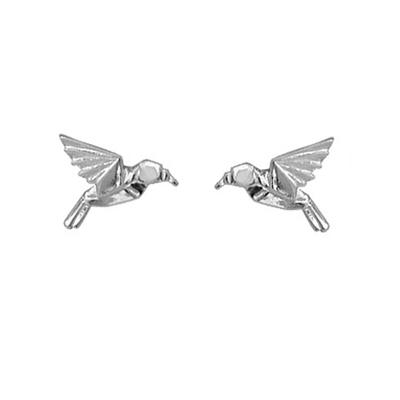 Boma Sterling Silver Origami Hummingbird Studs