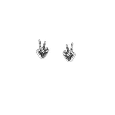Boma Sterling Silver Peace Sign Language Studs