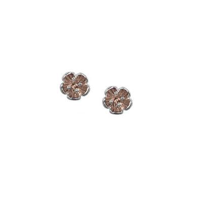 Boma Rose Gold & Sterling Silver Flower Studs