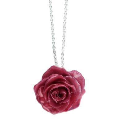 Small Fuchsia Rose Necklace