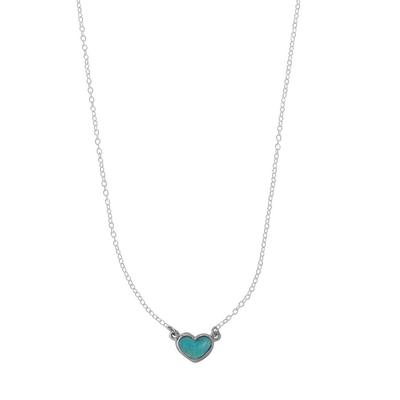 Boma Sterling Silver & Blue Turquoise Heart Necklace