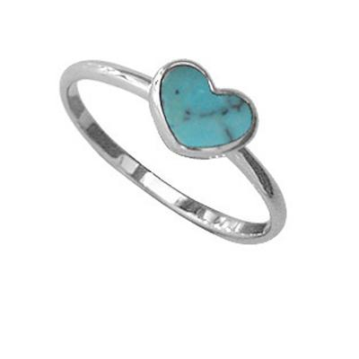 Boma Sterling Silver & Blue Turquoise Heart Ring