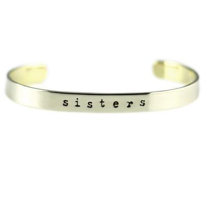 Sisters Forever Alpaca Metal Cuff Bracelet