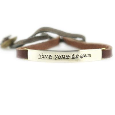 Live Your Dream Alpaca Metal Leather Bracelet
