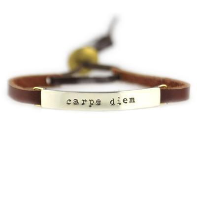 Carpe Diem Alpaca Metal Leather Bracelet