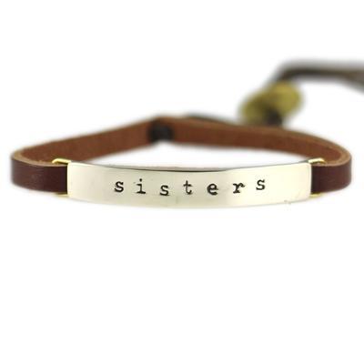 Sisters Alpaca Metal Leather Bracelet