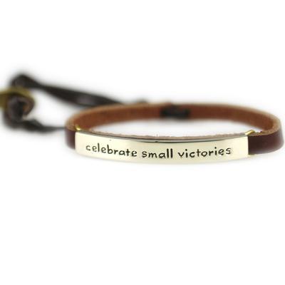 Celebrate Small Victories Alpaca Metal Leather Bracelet