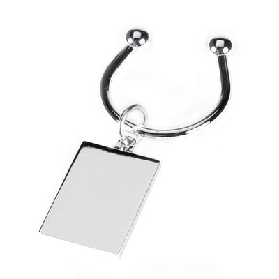 Silver Plated Rectangle Tag Key Ring