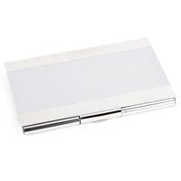 Matte Striped Silver Plated Business Card Case