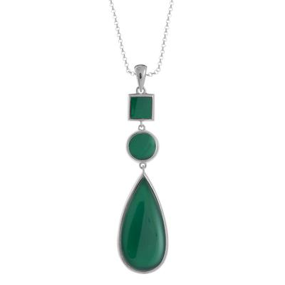Boma Geometric Sterling Silver & Green Agate Necklace