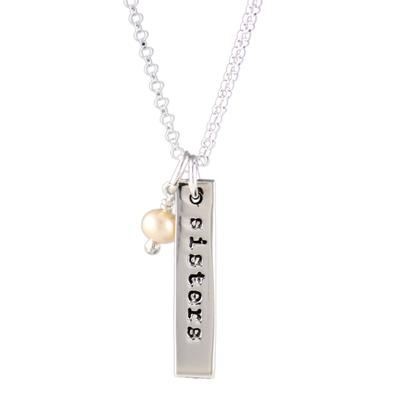 Far Fetched Sterling Silver Pearl Sisters Forever Charm Necklace