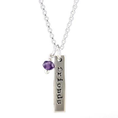 Far Fetched Sterling Silver Amethyst Friends Forever Charm Necklace