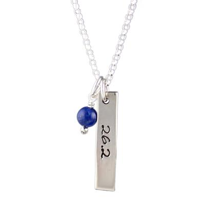 Far Fetched Sterling Silver Lapis 26.2 Courage Charm Necklace