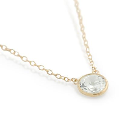 Gold Plated Sterling Silver Bezel Set Cz Necklace