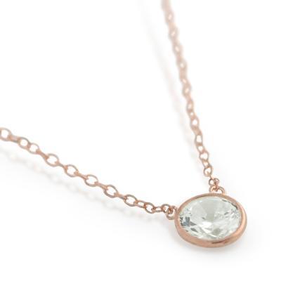 Rose Gold Plated Sterling Silver Bezel Set Cz Necklace