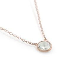 Rose Gold Plated Sterling Silver Bezel Set CZ Necklace