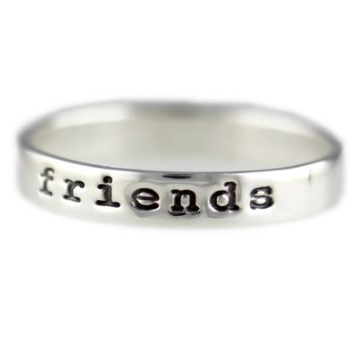 Far Fetched Stackable Sterling Silver Friends Ring