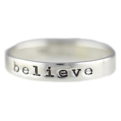 Far Fetched Stackable Sterling Silver Believe Ring