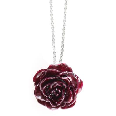 Small Burgundy Rose Necklace