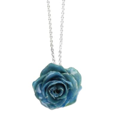Small Blue Rose Necklace