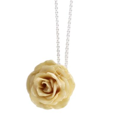 Small White Rose Necklace