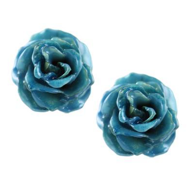 Blue Rose Bud Studs