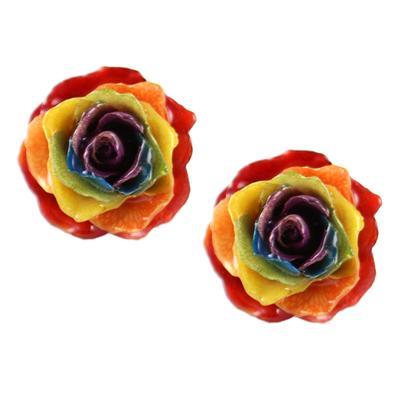Rainbow Gypsy Rose Bud Studs
