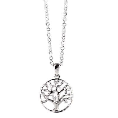 Sterling Silver & Cz Tree Of Life Necklace