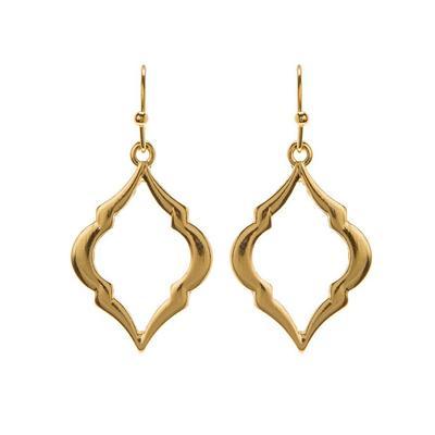 Rounded Gold Metal Diamond Frame Earrings